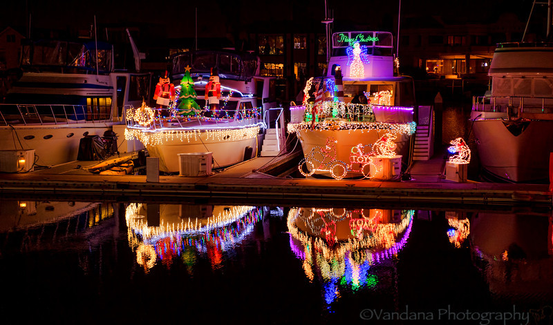 December 4, 2013 - Holiday lights at the Coronado Bay Resort Marina  so pleased that I can take these night shots handheld with my D4 !
